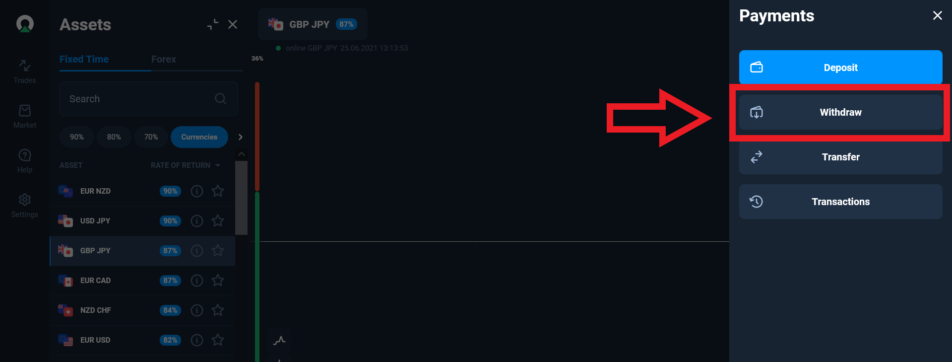 withdrawal button on olymp trade